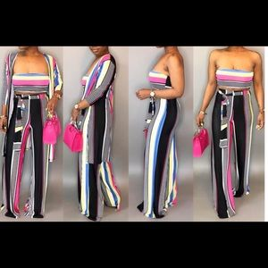 Dresses & Skirts - New Sexy Stripe 3 Piece Wide Leg Pant Set